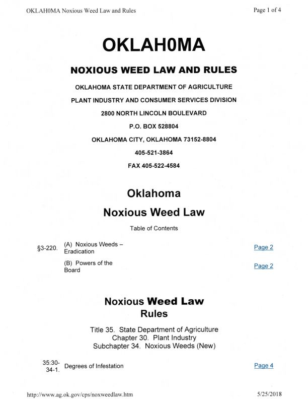 OK Noxious Weed Law p1